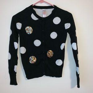 Cat & Jack black & white polka dot sequin sweater